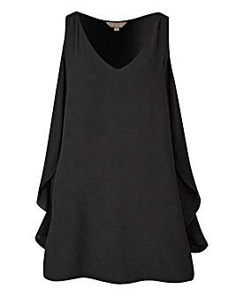 Black Ruffle Side Vest