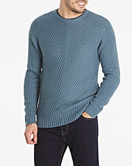 Blue Chunky Crew Neck Jumper Long