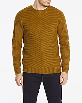 Brown Chunky Crew Neck Jumper Long