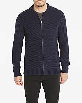 Navy Chunky Zipped Bomber Long