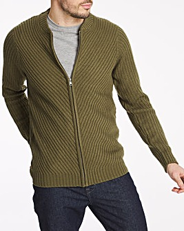 Olive Chunky Acrylic Knitted Bomber