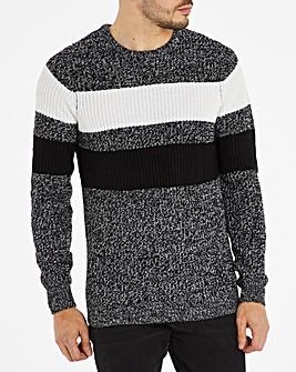 Black/White Crew Neck Stripe Jumper