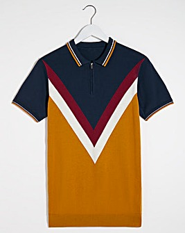 Navy Chevron Knitted Polo Long