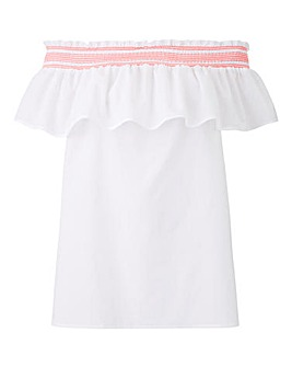 Petite White With Neon Shirred Bardot