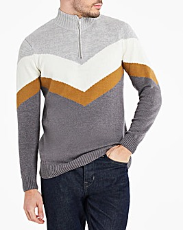 Grey Zip Neck Chevron Jumper