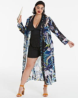 Multi Print Bell Sleeve Kimono