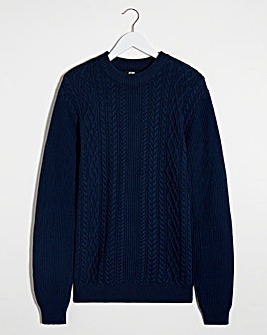 Navy Cable Knit Crew Neck Jumper Long