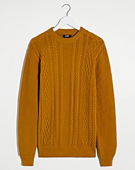 Mustard Cable Knit Crew Neck Jumper Long