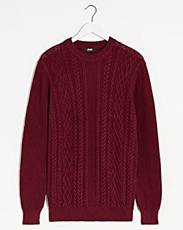 Wine Cable Knit Crew Neck Jumper