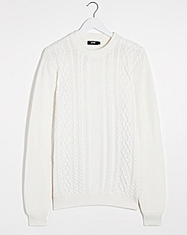 Ecru Cable Knit Crew Neck Jumper