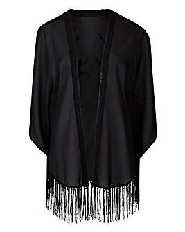 Black Tassel Hem Kimono