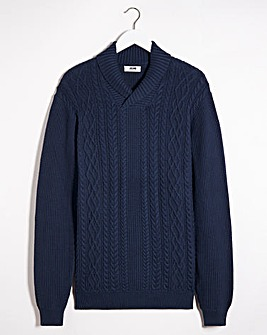 Navy Cable Shawl Neck Jumper Long
