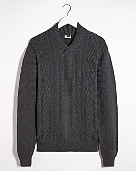Charcoal Cable Shawl Neck Jumper Long