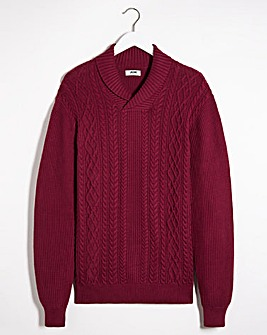 Wine Cable Shawl Neck Jumper Long