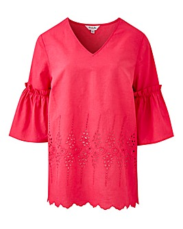 Pink V Neck Embroidered Blouse