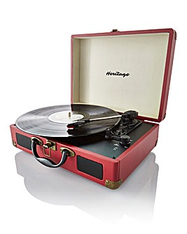 Retro Suitcase Style Turntable Red