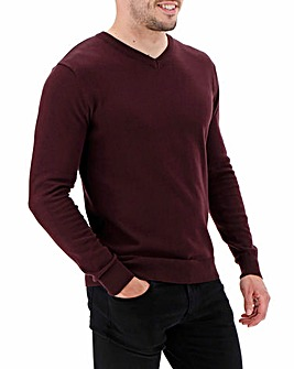 Wine V-Neck Cotton Jumper