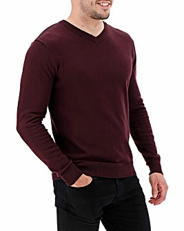 Wine V-Neck Cotton Jumper Long