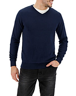 Royal Blue V-Neck Cotton Jumper Long