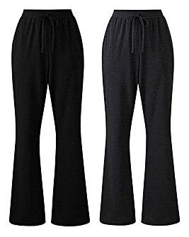 Pk2 Jersey Bootcut Trousers XShort