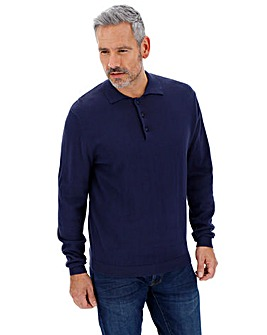 Navy Long Sleeve Knitted Cotton Polo