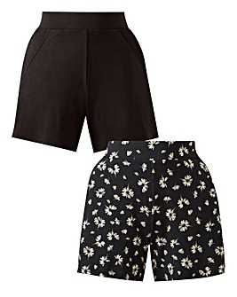 Pack of 2 Print & Plain Jersey Shorts