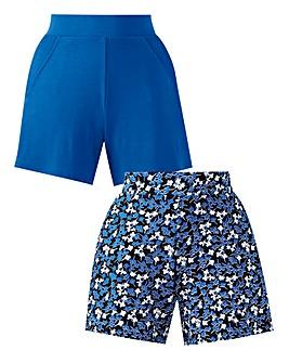 2PK Print & Plain Jersey Shorts