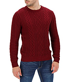 Dark Red Crew Neck Cable Jumper