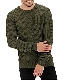 Khaki Crew Neck Cable Jumper