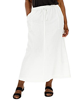 Essential Easy Care Linen Mix Maxi Skirt