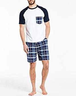 Navy Check Woven Short Pyjama Set