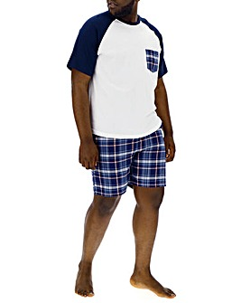 Navy Check Woven Short Pyjama Set