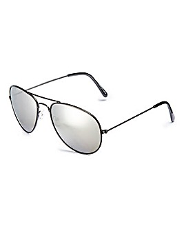 Squadron Black/Silver Aviator Sunglasses