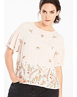 Peach Embellished Shell Top