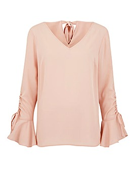 Dusky Pink Ruched Sleeve Blouse