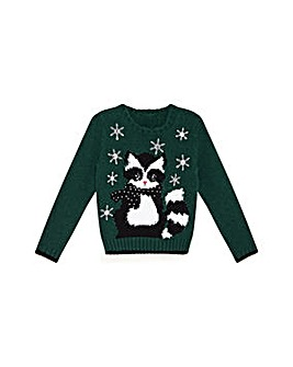 Yumi Girl Racoon Knitted Jumper