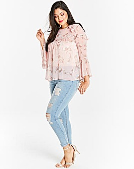 Blush Floral Fluted Sleeve Blouse