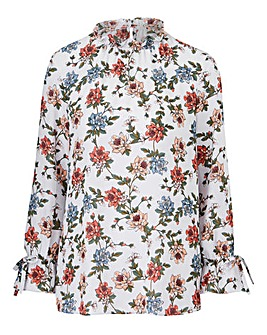 Grey Base Floral High Neck Blouse