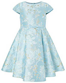 Monsoon Aries Blue Jacquard Dress