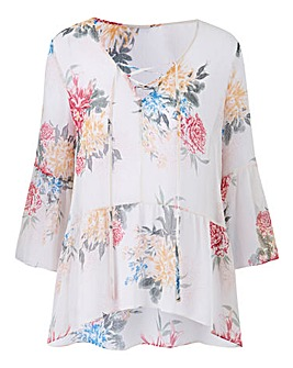 Ivory Floral Soft Peplum Lace Up Top