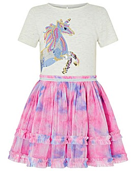 Monsoon Disco Nina Unicorn Tie Dye Dress