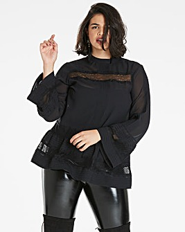 Black 3/4 Sleeve High Neck Blouse