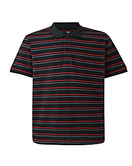 Black Fine Stripe Short Sleeve Polo Long