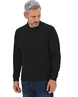 Black Long Sleeve Embroidered Polo Long