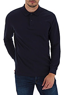 Navy Long Sleeve Embroidered Polo Long