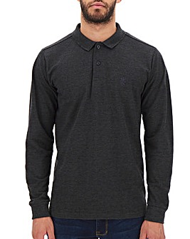Charcoal Long Sleeve Embroidered Polo