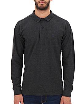 Charcoal Long Sleeve Embroid Polo Long