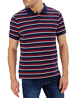 Navy Fine Stripe Short Sleeve Polo Long