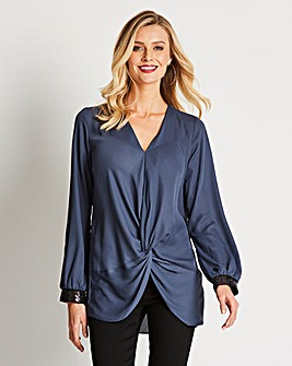 Twist Front Blouse With Beaded Cuff