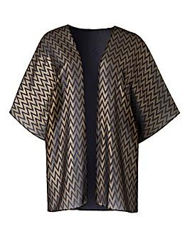 Black/Gold Foil Print Kimono
